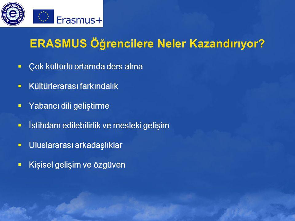 ERASMUS Öğrencilere Neler Kazandırıyor?  Çok kültürlü ortamda ders alma  Kültürlerarası farkındalık  Yabancı dili geliştirme  İstihdam edilebilirl
