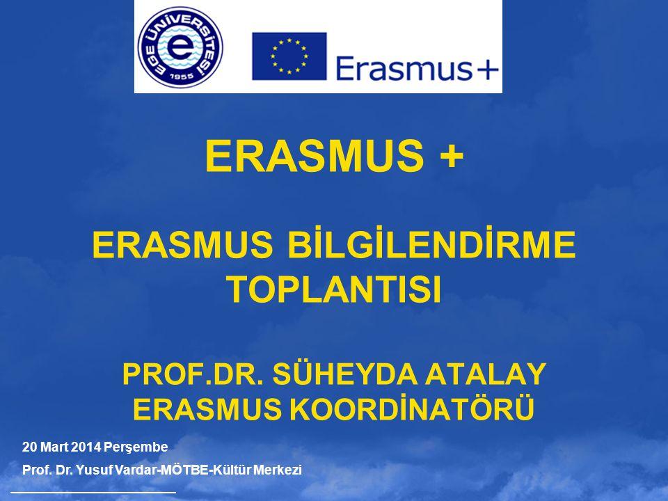 ERASMUS + ERASMUS BİLGİLENDİRME TOPLANTISI PROF.DR. SÜHEYDA ATALAY ERASMUS KOORDİNATÖRÜ 20 Mart 2014 Perşembe Prof. Dr. Yusuf Vardar-MÖTBE-Kültür Merk