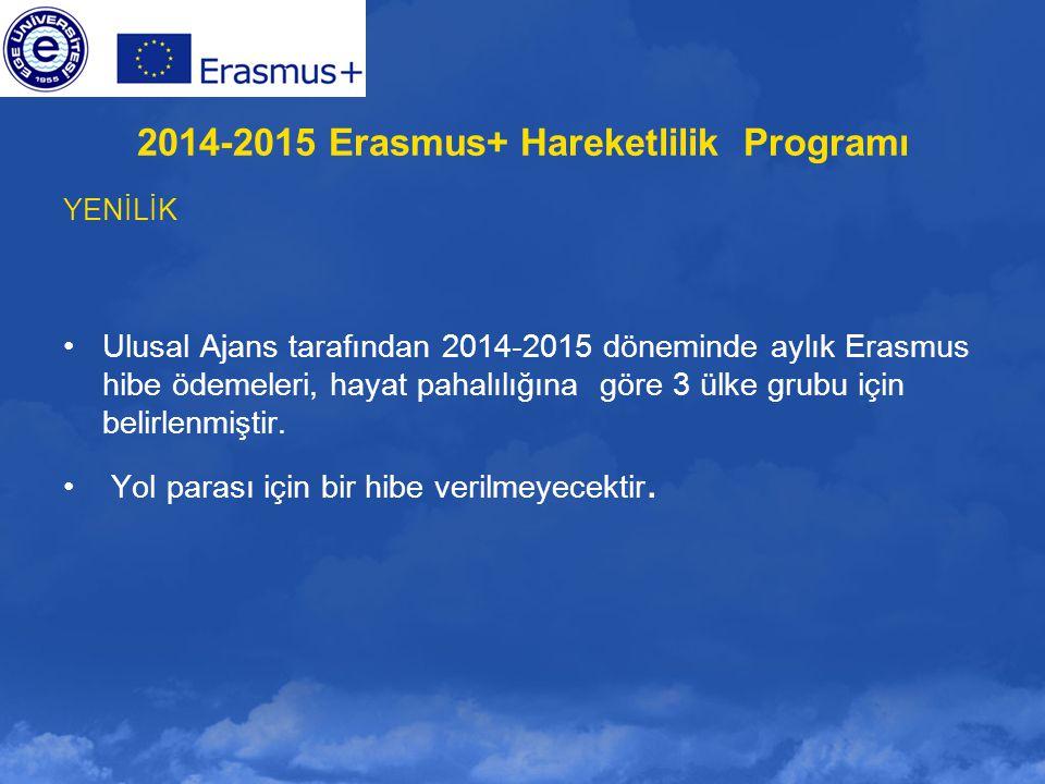 YENİLİK Ulusal Ajans tarafından 2014-2015 döneminde aylık Erasmus hibe ödemeleri, hayat pahalılığına göre 3 ülke grubu için belirlenmiştir. Yol parası