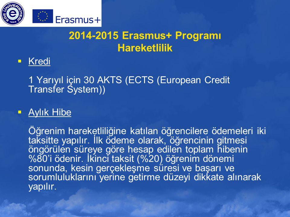 2014-2015 Erasmus+ Programı Hareketlilik  Kredi 1 Yarıyıl için 30 AKTS (ECTS (European Credit Transfer System))  Aylık Hibe Öğrenim hareketliliğine