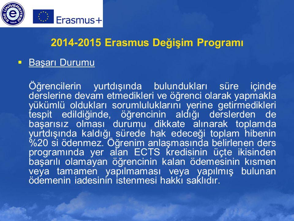 2014-2015 Erasmus Değişim Programı  Başarı Durumu Öğrencilerin yurtdışında bulundukları süre içinde derslerine devam etmedikleri ve öğrenci olarak ya
