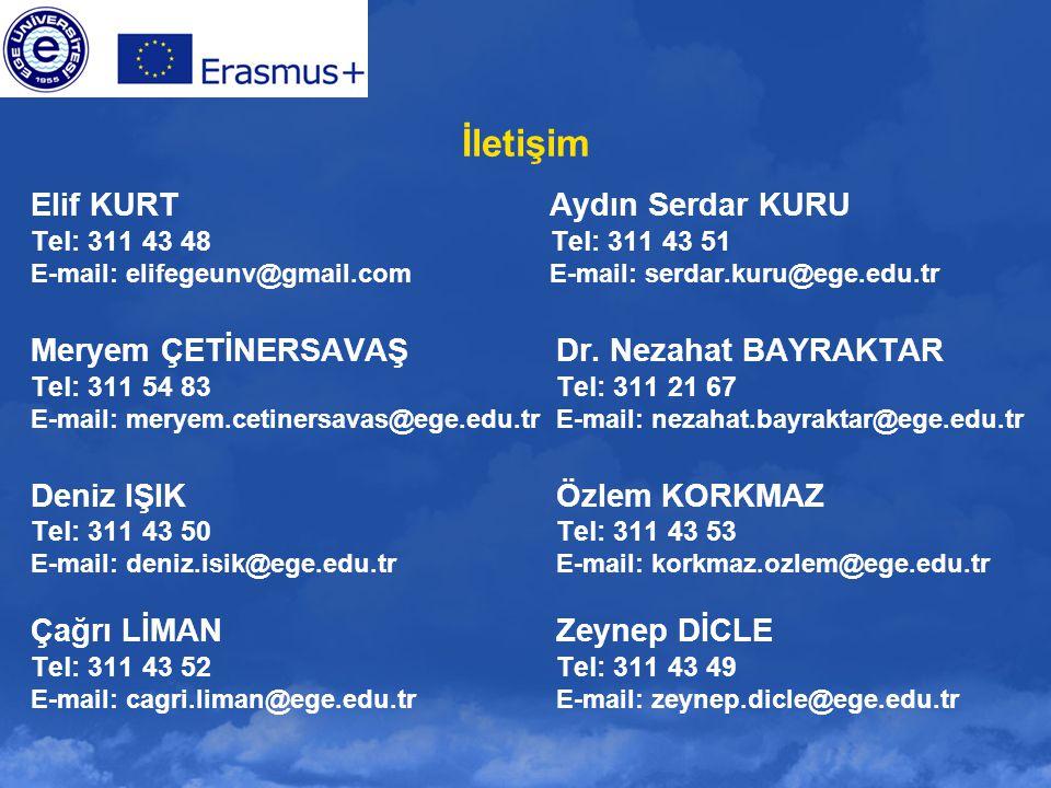 İletişim Elif KURT Aydın Serdar KURU Tel: 311 43 48 Tel: 311 43 51 E-mail: elifegeunv@gmail.com E-mail: serdar.kuru@ege.edu.tr Meryem ÇETİNERSAVAŞDr.