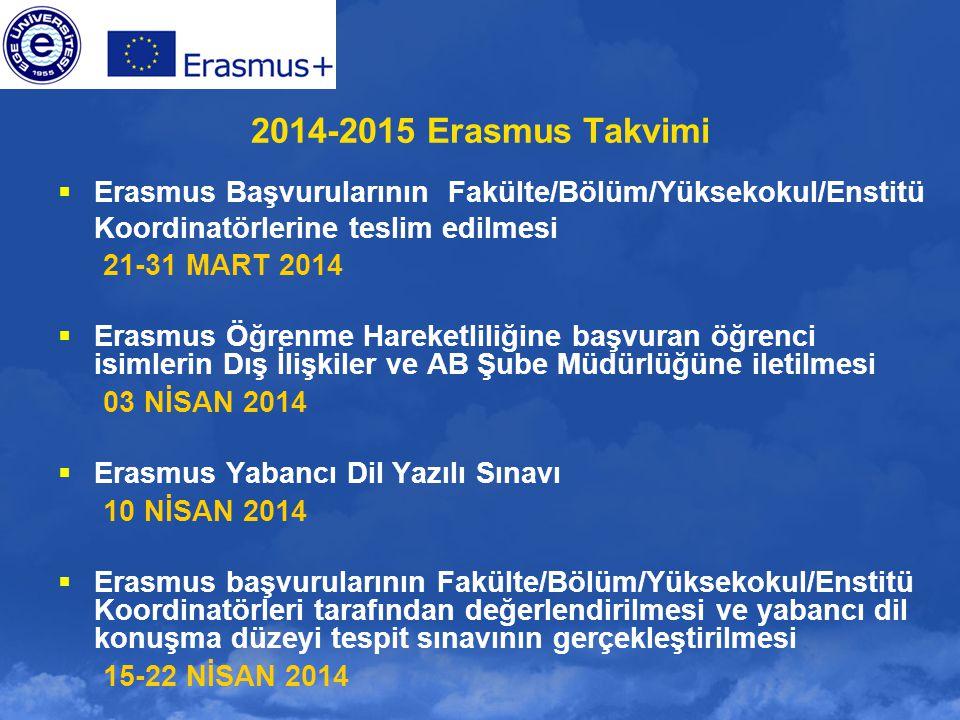 2014-2015 Erasmus Takvimi  Erasmus Başvurularının Fakülte/Bölüm/Yüksekokul/Enstitü Koordinatörlerine teslim edilmesi 21-31 MART 2014  Erasmus Öğrenm