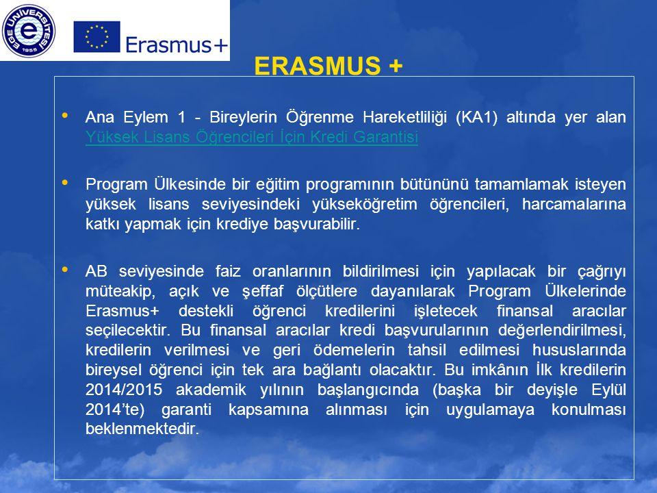 ERASMUS + Ana Eylem 1 - Bireylerin Öğrenme Hareketliliği (KA1) altında yer alan Yüksek Lisans Öğrencileri İçin Kredi Garantisi Yüksek Lisans Öğrencile