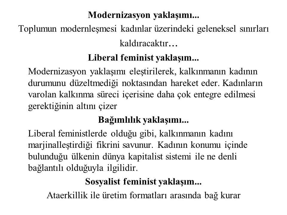 Modernizasyon yaklaşımı... Toplumun modernleşmesi kadınlar üzerindeki geleneksel sınırları kaldıracaktır... Liberal feminist yaklaşım... Modernizasyon