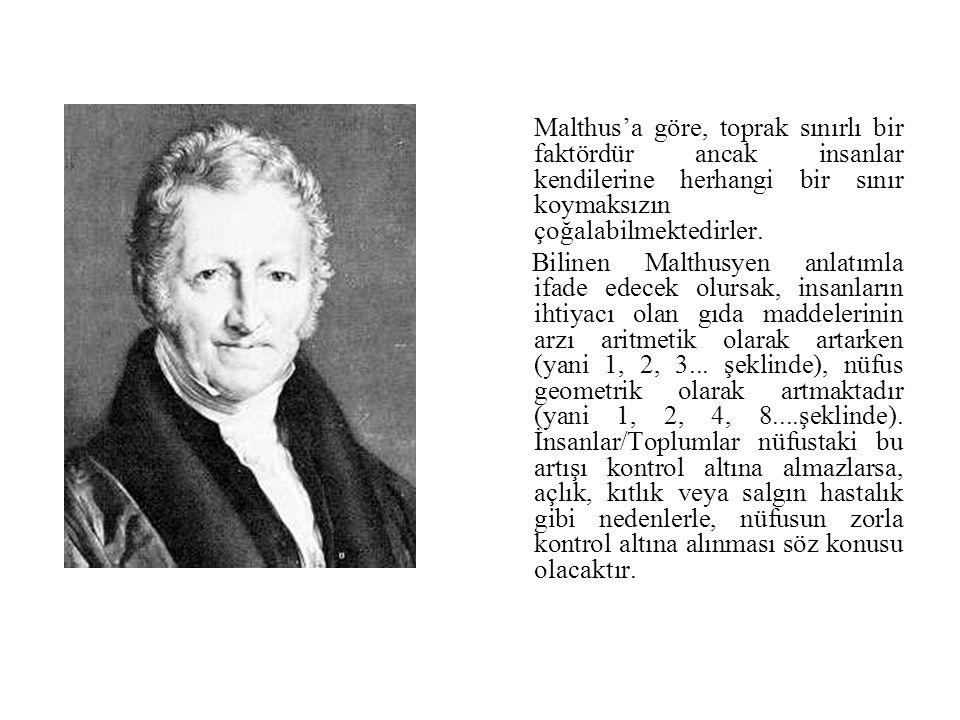 Malthus'a göre, toprak sınırlı bir faktördür ancak insanlar kendilerine herhangi bir sınır koymaksızın çoğalabilmektedirler. Bilinen Malthusyen anlatı