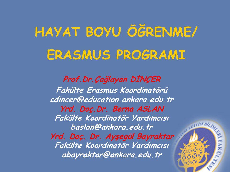 Prof.Dr.Çağlayan DİNÇER Fakülte Erasmus Koordinatörü cdincer@education.ankara.edu.tr Yrd.