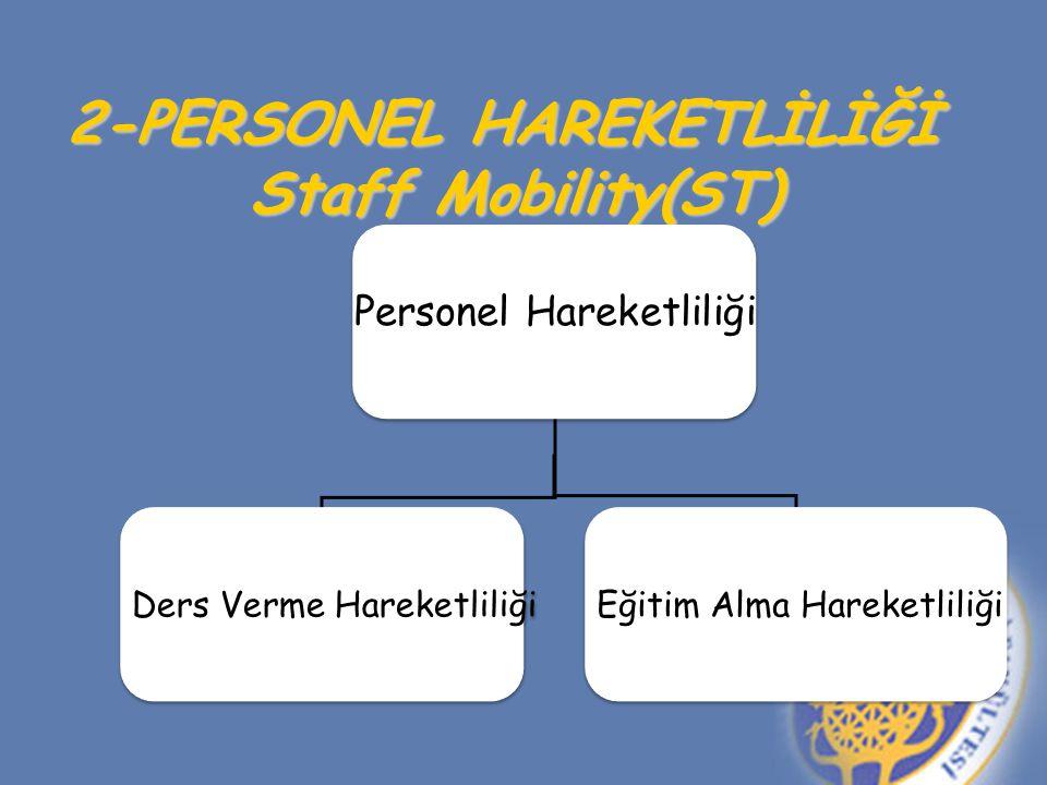 2-PERSONEL HAREKETLİLİĞİ Staff Mobility(ST) Personel Hareketliliği Ders Verme Hareketliliği Eğitim Alma Hareketliliği