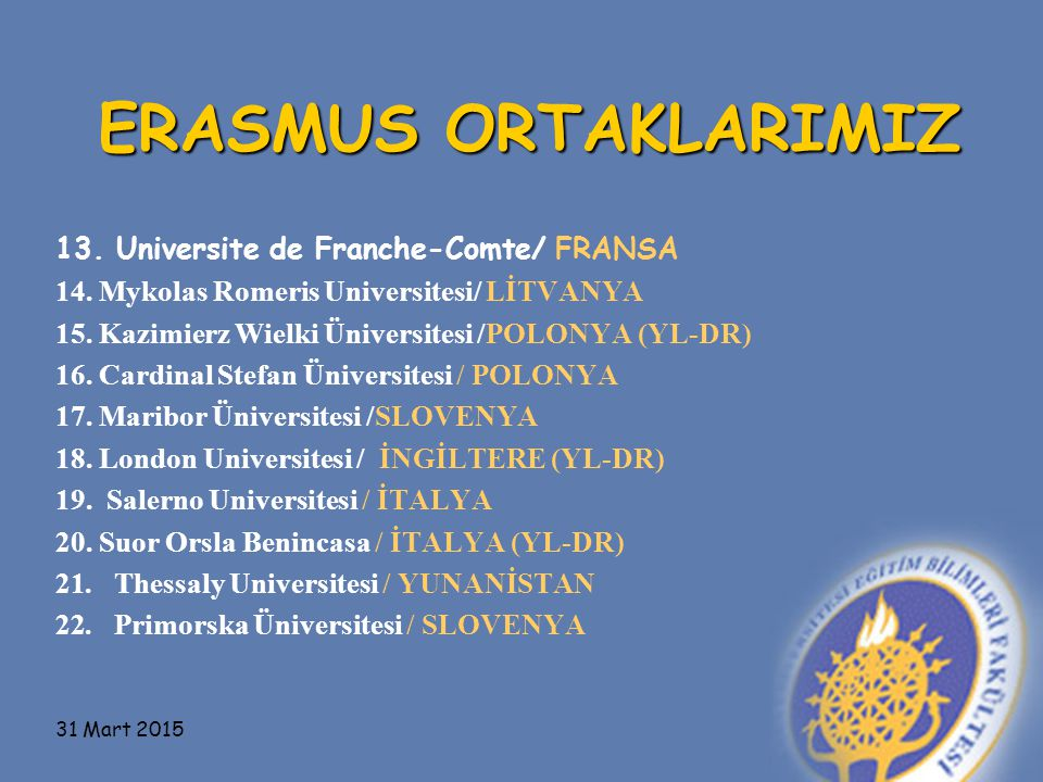 ERASMUS ORTAKLARIMIZ 13.Universite de Franche-Comte/ FRANSA 14.