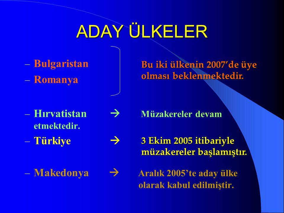 ADAY ÜLKELER – Bulgaristan – Romanya – Hırvatistan  Müzakereler devam etmektedir. – Türkiye  – Makedonya  Aralık 2005'te aday ülke olarak kabul edi
