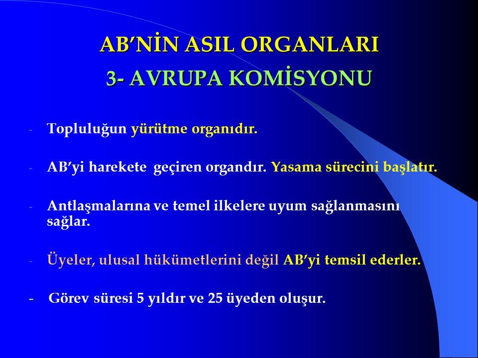 AB'NİN ASIL ORGANLARI 3- AVRUPA KOMİSYONU - Topluluğun yürütme organıdır. - AB'yi harekete geçiren organdır. Yasama sürecini başlatır. - Antlaşmaların