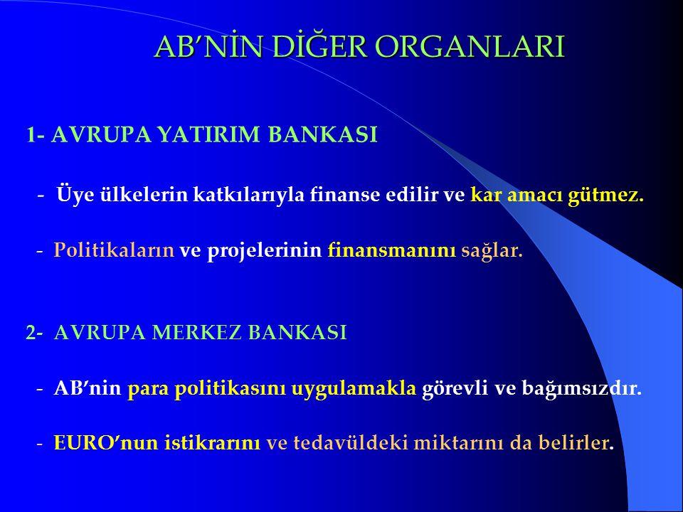 AB'NİN DİĞER ORGANLARI AB'NİN DİĞER ORGANLARI 1- AVRUPA YATIRIM BANKASI - Üye ülkelerin katkılarıyla finanse edilir ve kar amacı gütmez. - Politikalar