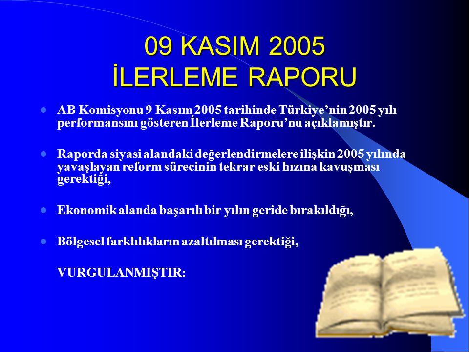 09 KASIM 2005 İLERLEME RAPORU AB Komisyonu 9 Kasım 2005 tarihinde Türkiye'nin 2005 yılı performansını gösteren İlerleme Raporu'nu açıklamıştır. Rapord