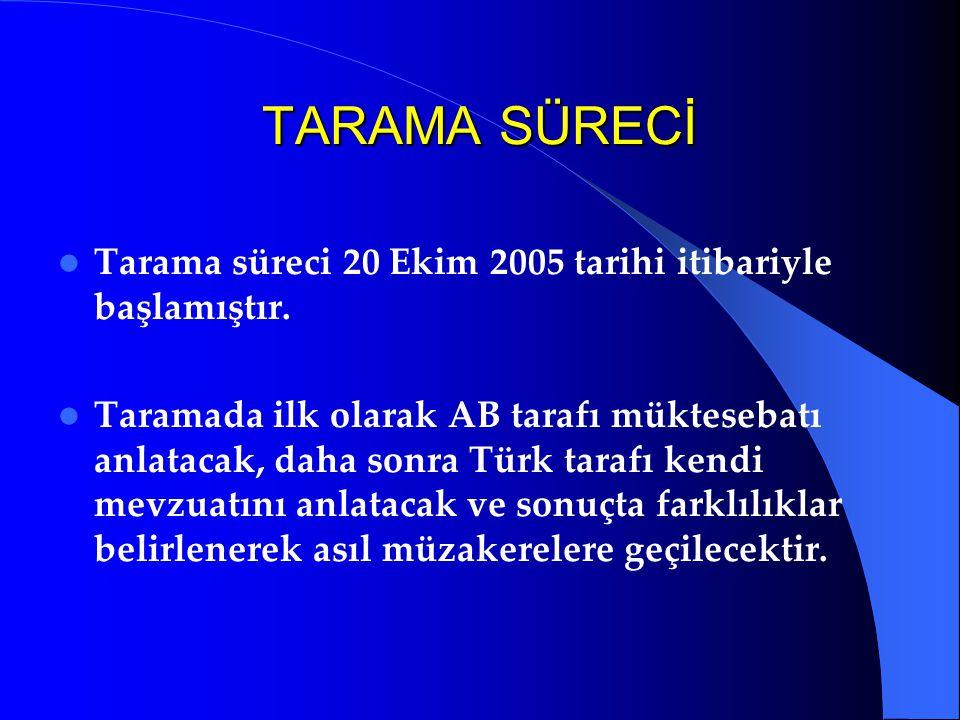 TARAMA SÜRECİ Tarama süreci 20 Ekim 2005 tarihi itibariyle başlamıştır. Taramada ilk olarak AB tarafı müktesebatı anlatacak, daha sonra Türk tarafı ke