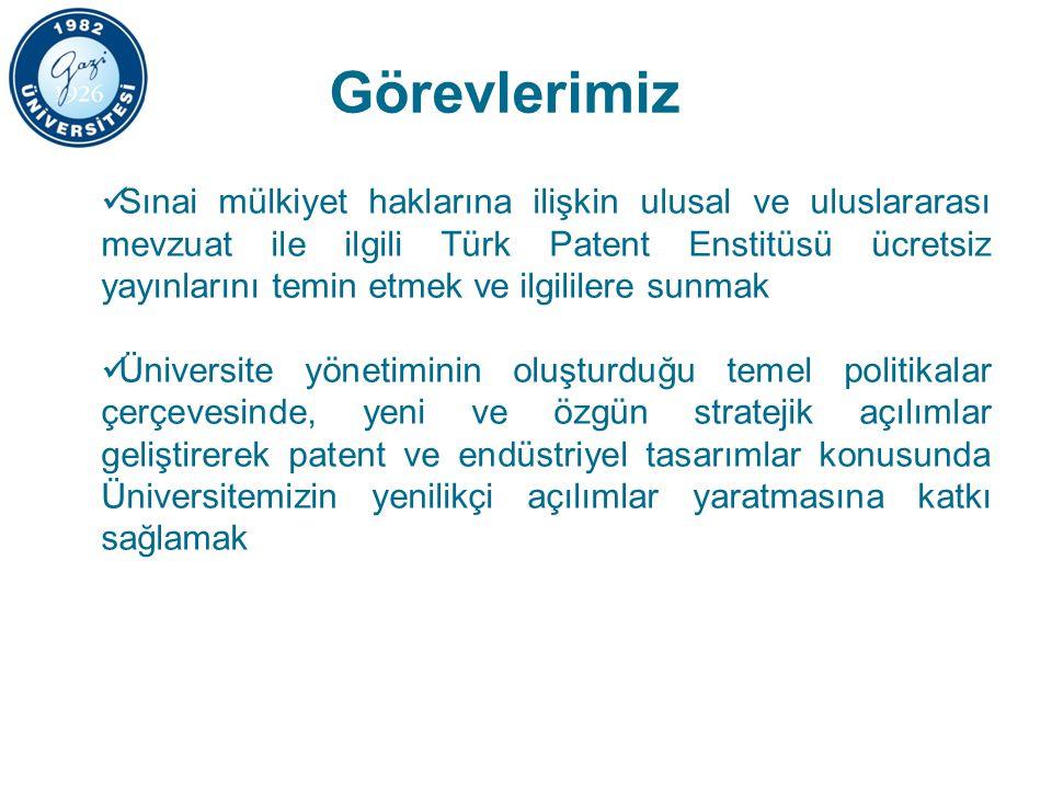 Görevlerimiz Sınai mülkiyet haklarına ilişkin ulusal ve uluslararası mevzuat ile ilgili Türk Patent Enstitüsü ücretsiz yayınlarını temin etmek ve ilgililere sunmak Üniversite yönetiminin oluşturduğu temel politikalar çerçevesinde, yeni ve özgün stratejik açılımlar geliştirerek patent ve endüstriyel tasarımlar konusunda Üniversitemizin yenilikçi açılımlar yaratmasına katkı sağlamak
