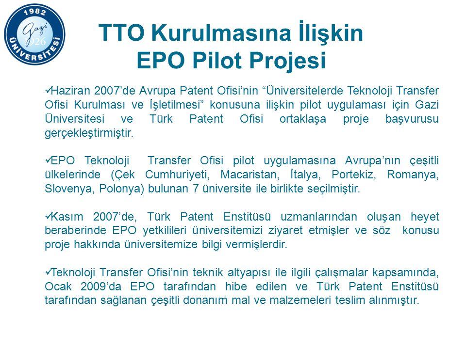 TTO Kurulmasına İlişkin EPO Pilot Projesi Haziran 2007'de Avrupa Patent Ofisi'nin Üniversitelerde Teknoloji Transfer Ofisi Kurulması ve İşletilmesi konusuna ilişkin pilot uygulaması için Gazi Üniversitesi ve Türk Patent Ofisi ortaklaşa proje başvurusu gerçekleştirmiştir.