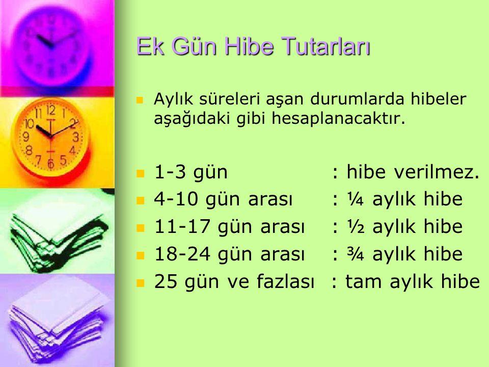 Ek Gün Hibe Tutarları Aylık süreleri aşan durumlarda hibeler aşağıdaki gibi hesaplanacaktır. 1-3 gün : hibe verilmez. 4-10 gün arası : ¼ aylık hibe 11