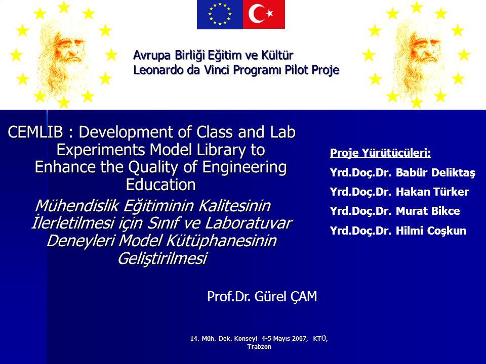 CEMLIB : Development of Class and Lab Experiments Model Library to Enhance the Quality of Engineering Education Mühendislik Eğitiminin Kalitesinin İlerletilmesi için Sınıf ve Laboratuvar Deneyleri Model Kütüphanesinin Geliştirilmesi Avrupa Birliği Eğitim ve Kültür Leonardo da Vinci Programı Pilot Proje Prof.Dr.