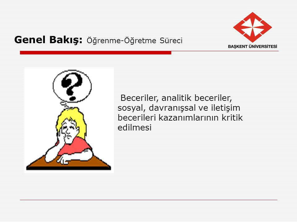 Genel Bakış: Öğrenme-Öğretme Süreci Beceriler, analitik beceriler, sosyal, davranışsal ve iletişim becerileri kazanımlarının kritik edilmesi