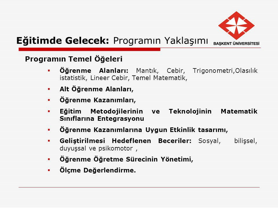 Eğitimde Gelecek: Programın Yaklaşımı Programın Temel Öğeleri  Öğrenme Alanları: Mantık, Cebir, Trigonometri,Olasılık istatistik, Lineer Cebir, Temel