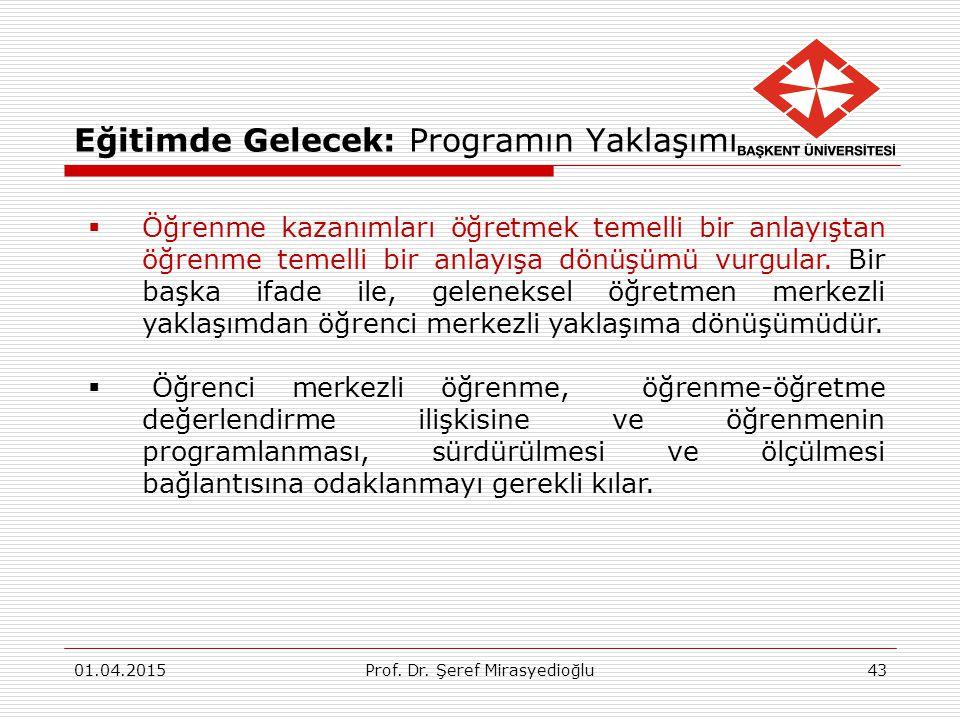 Eğitimde Gelecek: Programın Yaklaşımı 01.04.2015Prof. Dr. Şeref Mirasyedioğlu43  Öğrenme kazanımları öğretmek temelli bir anlayıştan öğrenme temelli