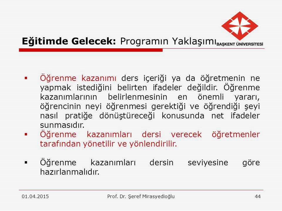 Eğitimde Gelecek: Programın Yaklaşımı 01.04.2015Prof. Dr. Şeref Mirasyedioğlu44  Öğrenme kazanımı ders içeriği ya da öğretmenin ne yapmak istediğini