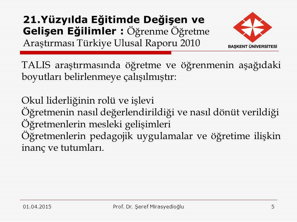 21.Yüzyılda Eğitimde Değişen ve Gelişen Eğilimler : Öğrenme Öğretme Araştırması Türkiye Ulusal Raporu 2010 01.04.2015Prof. Dr. Şeref Mirasyedioğlu5 TA