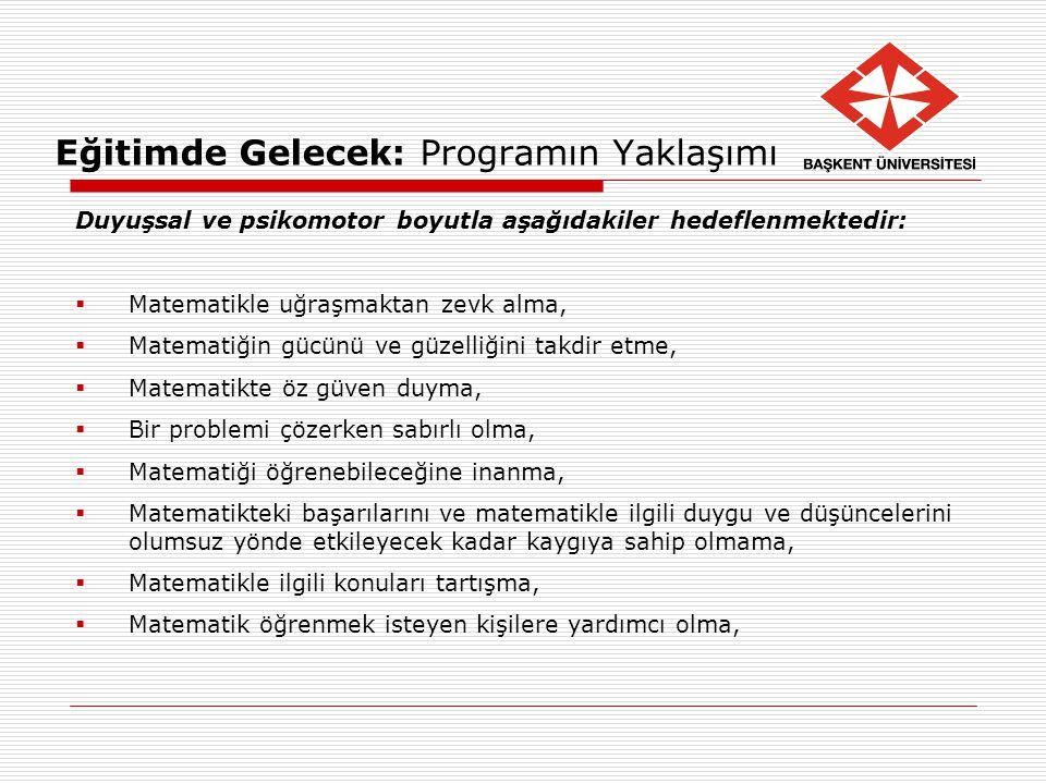 Eğitimde Gelecek: Programın Yaklaşımı Duyuşsal ve psikomotor boyutla aşağıdakiler hedeflenmektedir:  Matematikle uğraşmaktan zevk alma,  Matematiğin