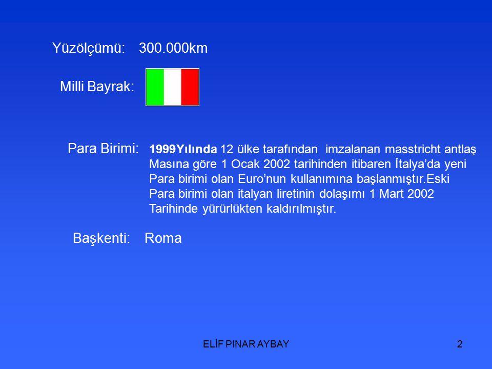 2 Yüzölçümü: 300.000km Milli Bayrak: Para Birimi: 1999Yılında 12 ülke tarafından imzalanan masstricht antlaş Masına göre 1 Ocak 2002 tarihinden itibaren İtalya'da yeni Para birimi olan Euro'nun kullanımına başlanmıştır.Eski Para birimi olan italyan liretinin dolaşımı 1 Mart 2002 Tarihinde yürürlükten kaldırılmıştır.