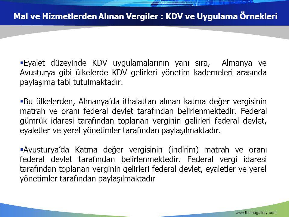 Mal ve Hizmetlerden Alınan Vergiler : KDV ve Uygulama Örnekleri  Eyalet düzeyinde KDV uygulamalarının yanı sıra, Almanya ve Avusturya gibi ülkelerde