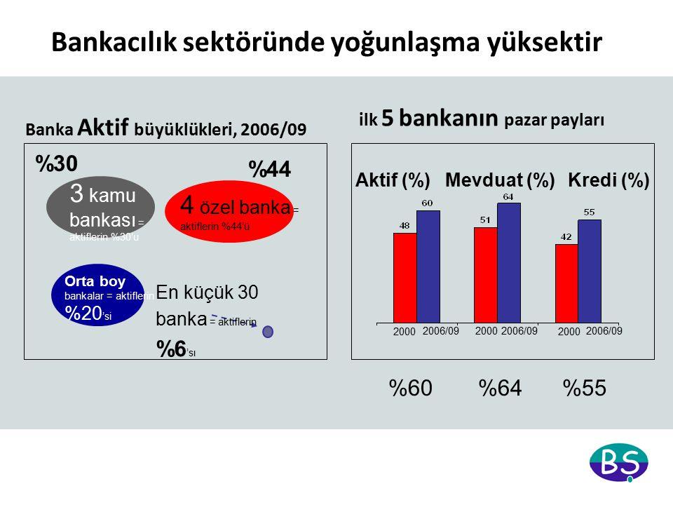 Bankacılık sektöründe yoğunlaşma yüksektir Banka Aktif büyüklükleri, 2006/09 3 kamu bankası = aktiflerin %30'u En küçük 30 banka = aktiflerin %6 'sı Orta boy bankalar = aktiflerin %20 'si 4 özel banka = aktiflerin %44'ü Aktif (%)Mevduat (%)Kredi (%) 2000 2006/09 2000 ilk 5 bankanın pazar payları %60%64%55 %30 %44
