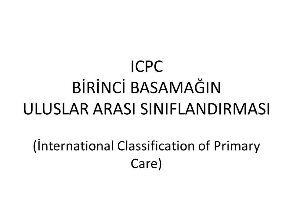 ICPC BİRİNCİ BASAMAĞIN ULUSLAR ARASI SINIFLANDIRMASI (İnternational Classification of Primary Care)