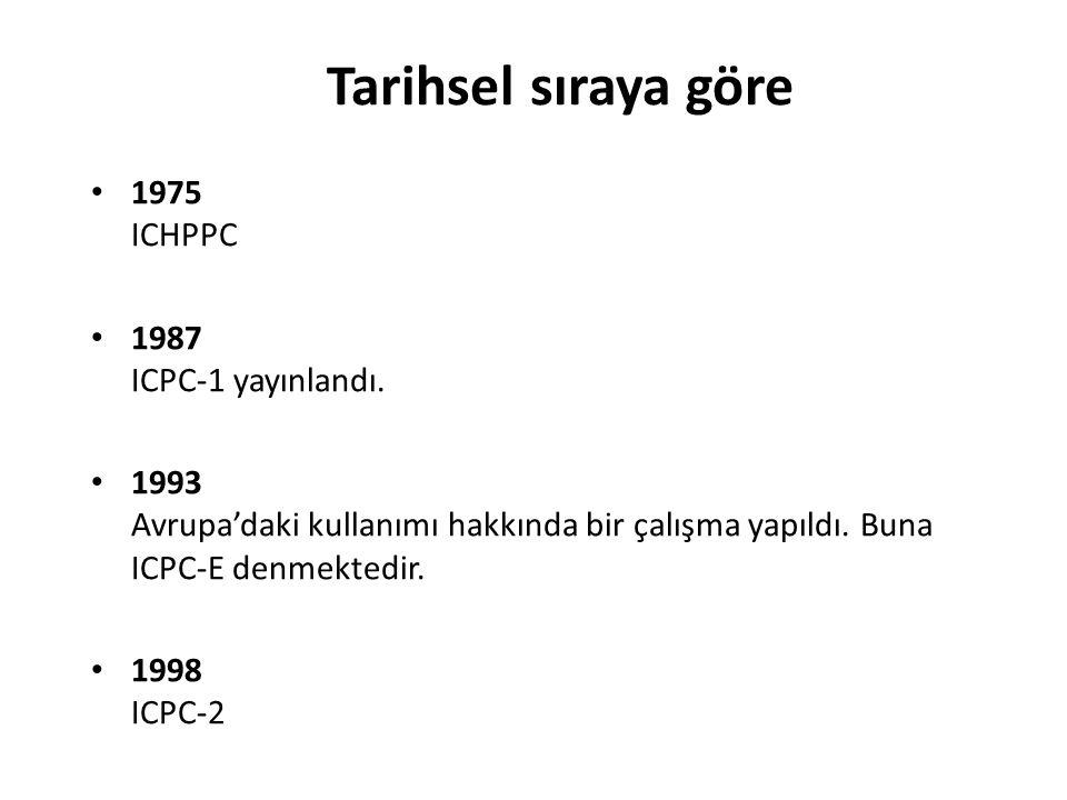 Tarihsel sıraya göre 1975 ICHPPC 1987 ICPC-1 yayınlandı. 1993 Avrupa'daki kullanımı hakkında bir çalışma yapıldı. Buna ICPC-E denmektedir. 1998 ICPC-2