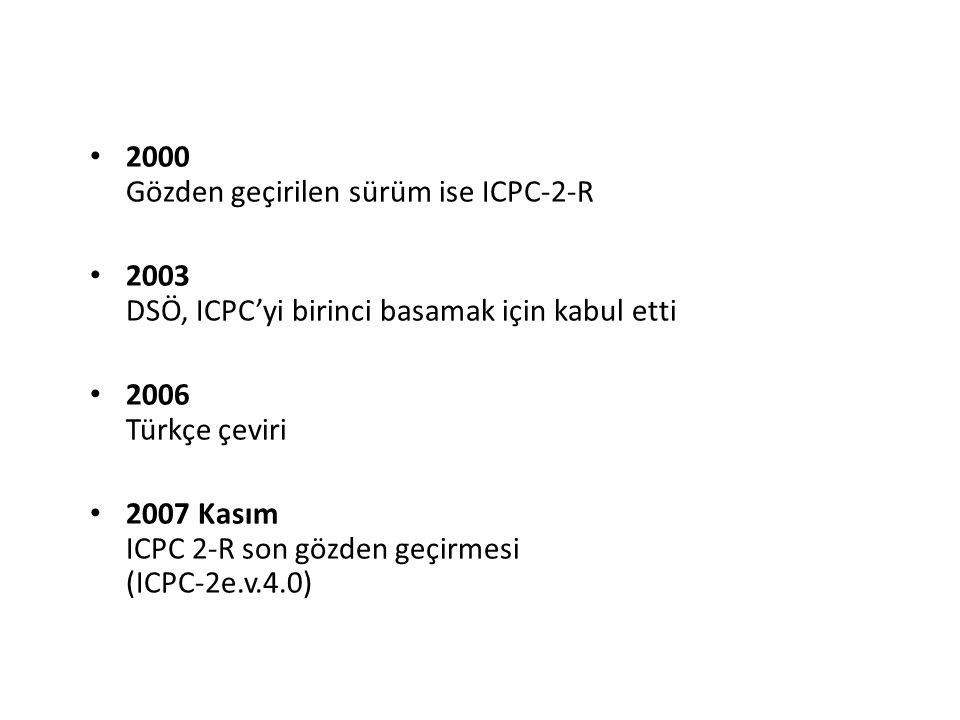 2000 Gözden geçirilen sürüm ise ICPC-2-R 2003 DSÖ, ICPC'yi birinci basamak için kabul etti 2006 Türkçe çeviri 2007 Kasım ICPC 2-R son gözden geçirmesi