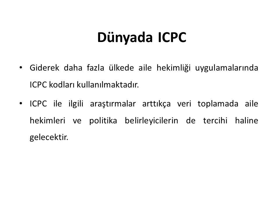 Dünyada ICPC Giderek daha fazla ülkede aile hekimliği uygulamalarında ICPC kodları kullanılmaktadır. ICPC ile ilgili araştırmalar arttıkça veri toplam