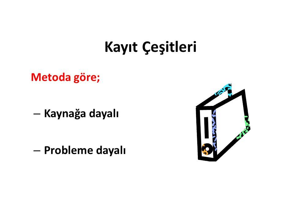 Kayıt Çeşitleri Metoda göre; – Kaynağa dayalı – Probleme dayalı