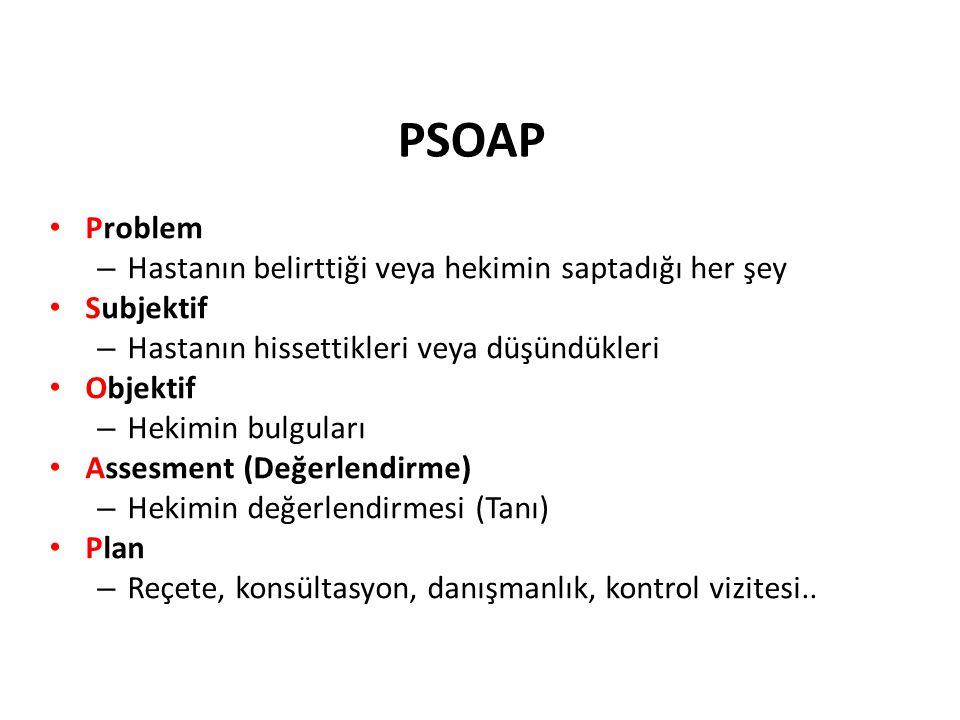 PSOAP Problem – Hastanın belirttiği veya hekimin saptadığı her şey Subjektif – Hastanın hissettikleri veya düşündükleri Objektif – Hekimin bulguları A