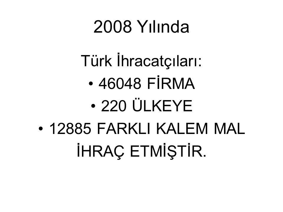 2008 Yılında Türk İhracatçıları: 46048 FİRMA 220 ÜLKEYE 12885 FARKLI KALEM MAL İHRAÇ ETMİŞTİR.