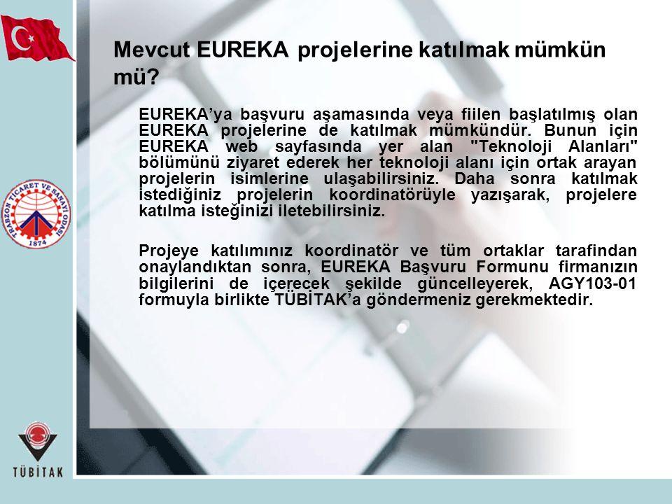 Mevcut EUREKA projelerine katılmak mümkün mü.