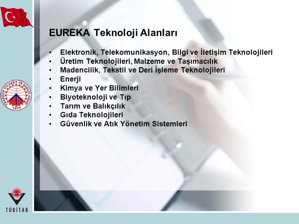 EUREKA Teknoloji Alanları Elektronik, Telekomunikasyon, Bilgi ve İletişim Teknolojileri Üretim Teknolojileri, Malzeme ve Taşımacılık Madencilik, Tekstil ve Deri İşleme Teknolojileri Enerji Kimya ve Yer Bilimleri Biyoteknoloji ve Tıp Tarım ve Balıkçılık Gıda Teknolojileri Güvenlik ve Atık Yönetim Sistemleri
