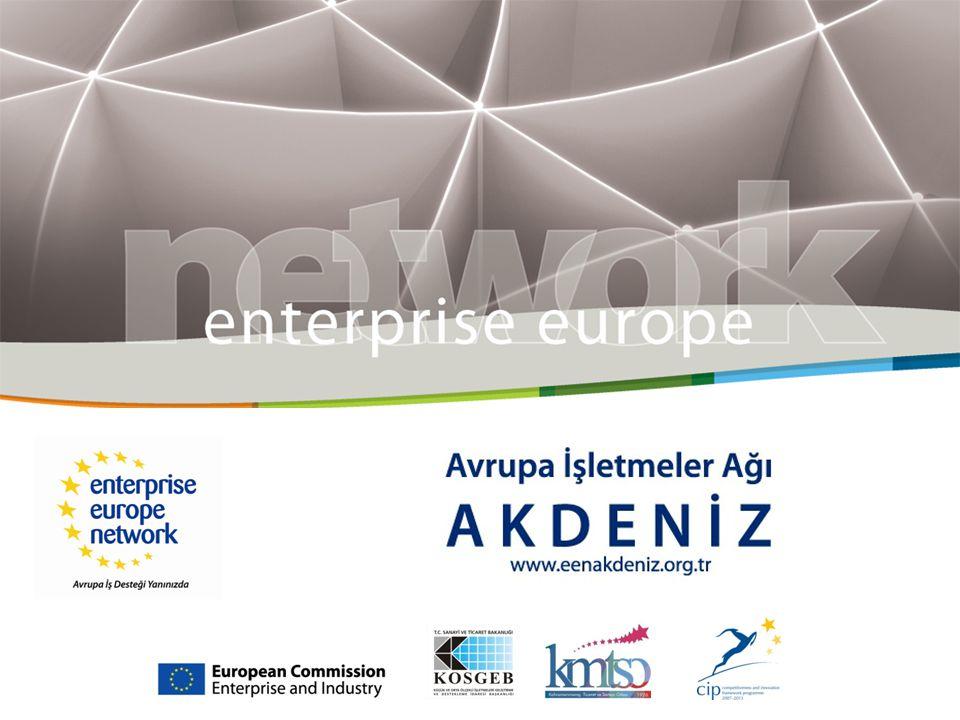 AVRUPA İŞLETMELER AĞI www.eenakdeniz.org.tr AVRUPA İŞLETMELER AĞI (Enterprise Europe Network-EEN) Avrupa İşletmeler Ağı'nın amacı, İşletmelere iş ve inovasyon alanında entegre hizmetler sağlayarak, rekabet ve inovasyon güçlerini arttıracak tek bir ağ oluşturmaktır.