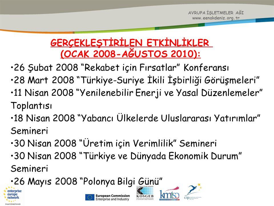 """AVRUPA İŞLETMELER AĞI www.eenakdeniz.org.tr GERÇEKLEŞTİRİLEN ETKİNLİKLER (OCAK 2008-AĞUSTOS 2010): 26 Şubat 2008 """"Rekabet için Fırsatlar"""" Konferansı 2"""