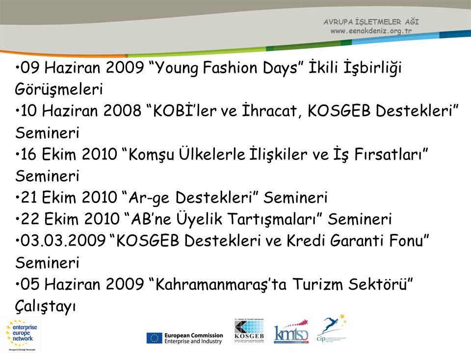 """AVRUPA İŞLETMELER AĞI www.eenakdeniz.org.tr 09 Haziran 2009 """"Young Fashion Days"""" İkili İşbirliği Görüşmeleri 10 Haziran 2008 """"KOBİ'ler ve İhracat, KOS"""