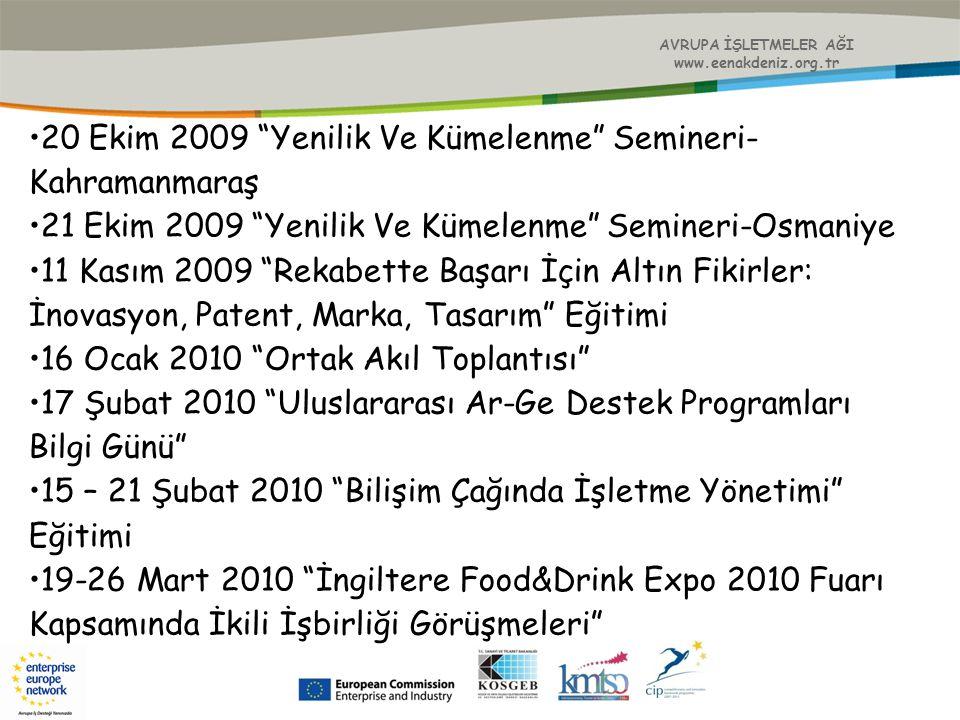 """AVRUPA İŞLETMELER AĞI www.eenakdeniz.org.tr 20 Ekim 2009 """"Yenilik Ve Kümelenme"""" Semineri- Kahramanmaraş 21 Ekim 2009 """"Yenilik Ve Kümelenme"""" Semineri-O"""
