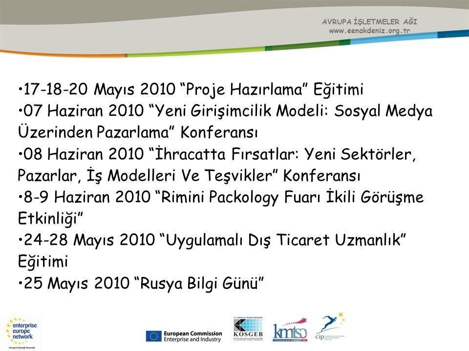 """AVRUPA İŞLETMELER AĞI www.eenakdeniz.org.tr 17-18-20 Mayıs 2010 """"Proje Hazırlama"""" Eğitimi 07 Haziran 2010 """"Yeni Girişimcilik Modeli: Sosyal Medya Üzer"""