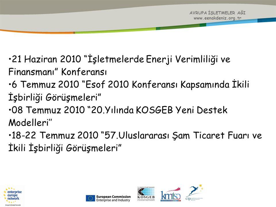 """AVRUPA İŞLETMELER AĞI www.eenakdeniz.org.tr 21 Haziran 2010 """"İşletmelerde Enerji Verimliliği ve Finansmanı"""" Konferansı 6 Temmuz 2010 """"Esof 2010 Konfer"""