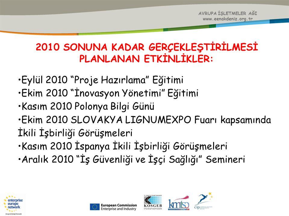 """AVRUPA İŞLETMELER AĞI www.eenakdeniz.org.tr 2010 SONUNA KADAR GERÇEKLEŞTİRİLMESİ PLANLANAN ETKİNLİKLER: Eylül 2010 """"Proje Hazırlama"""" Eğitimi Ekim 2010"""