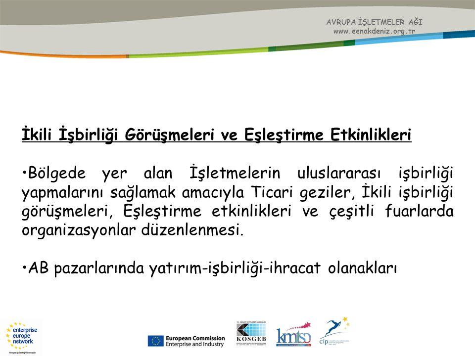AVRUPA İŞLETMELER AĞI www.eenakdeniz.org.tr İkili İşbirliği Görüşmeleri ve Eşleştirme Etkinlikleri Bölgede yer alan İşletmelerin uluslararası işbirliğ