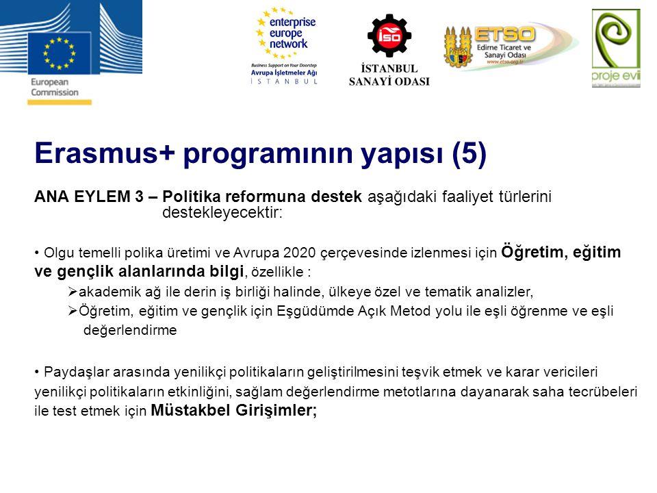Erasmus+ programının yapısı (5) ANA EYLEM 3 – Politika reformuna destek aşağıdaki faaliyet türlerini destekleyecektir: Olgu temelli polika üretimi ve