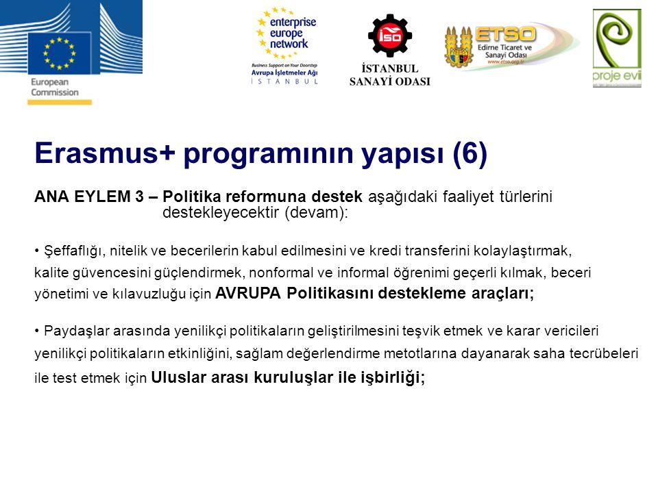 Erasmus+ programının yapısı (6) ANA EYLEM 3 – Politika reformuna destek aşağıdaki faaliyet türlerini destekleyecektir (devam): Şeffaflığı, nitelik ve